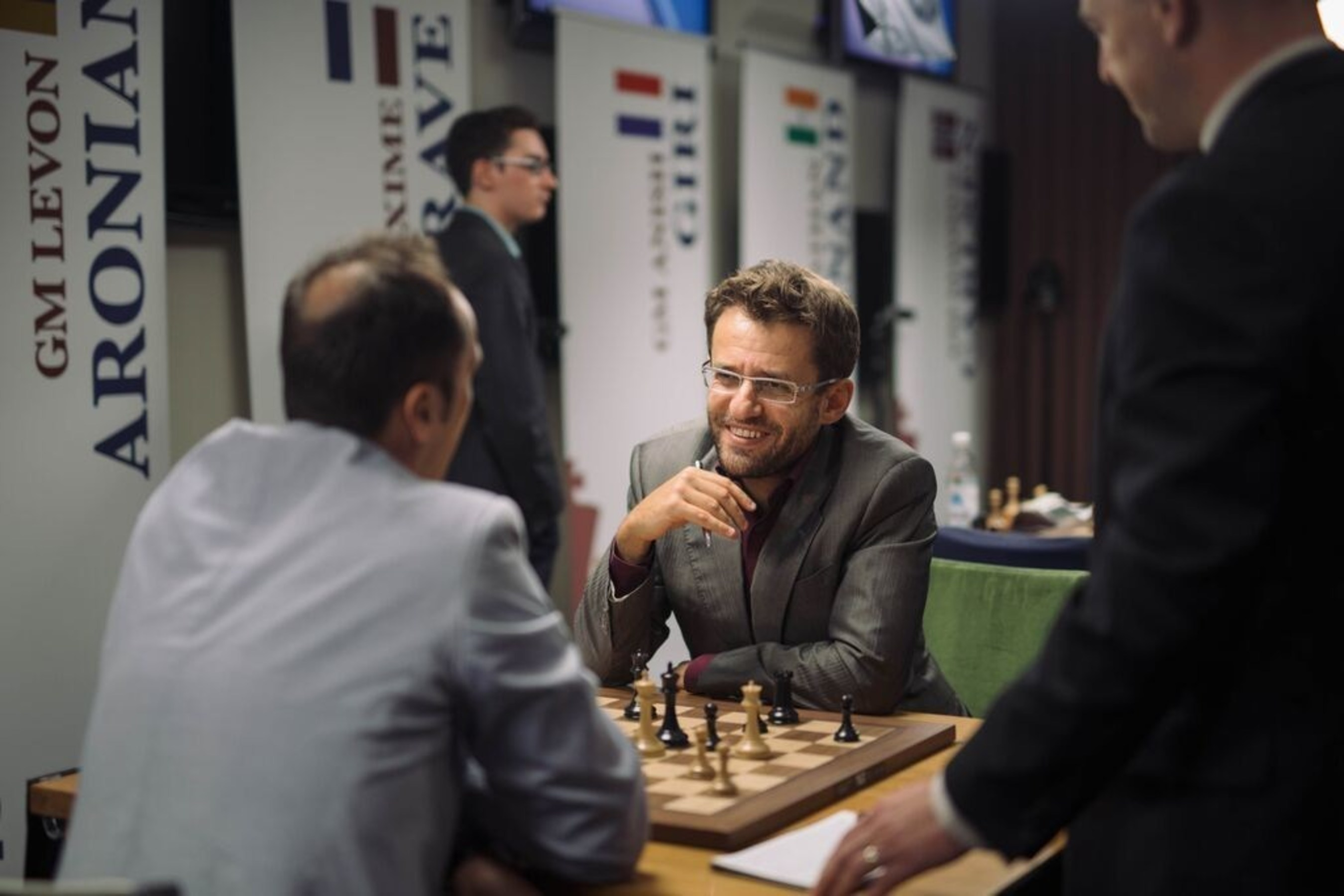 In the final match of the tournament, Grandmaster Levon Aronian from Armenia beat Grandmaster Veselin Topalov from Bulgaria to become the 2015 Sinquefield Cup champion. Photo credit: Austin Fuller