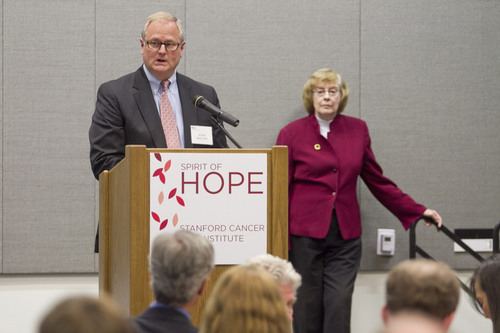 LLS CEO John Walter and Beverly Mitchell, MD, director of Stanford Cancer Institute.  (PRNewsFoto/The Leukemia & Lymphoma Society)