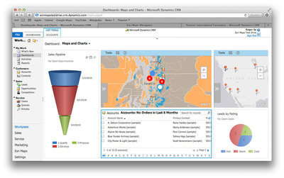 Esri Maps for Microsoft Dynamics CRM adds a location perspective to business information.  (PRNewsFoto/Esri)