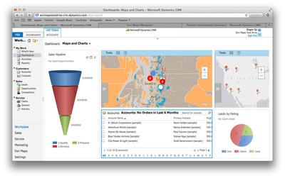Esri Maps for Microsoft Dynamics CRM adds a location perspective to business information.  (PRNewsFoto/Esri)