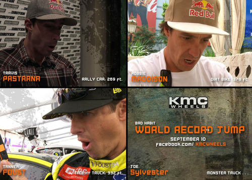 Record setters Travis Pastrana, Robbie Maddison and Tanner Foust react to video of a monster truck distance ...