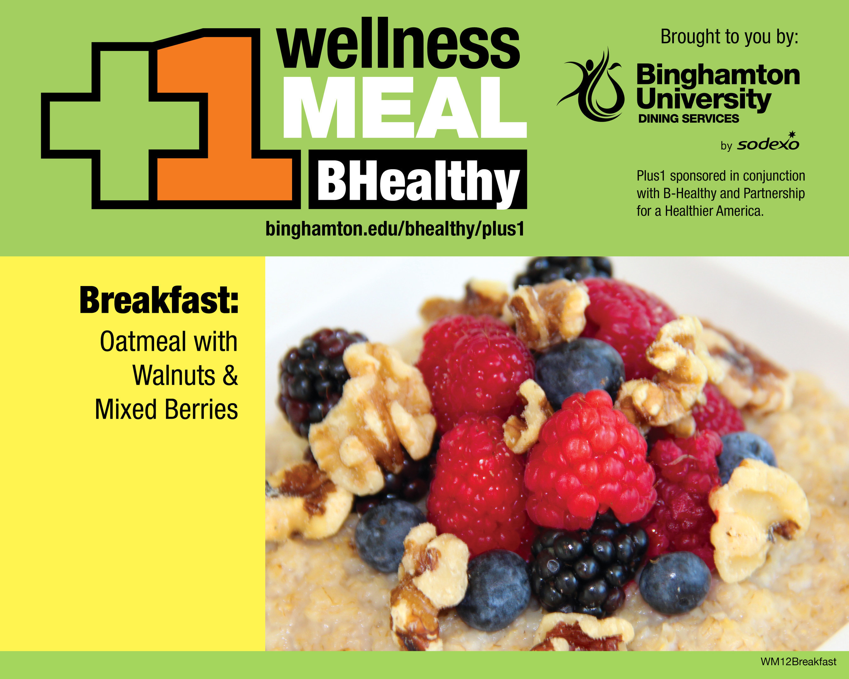 B-Healthy Wellness Meal at Binghamton University - Oatmeal with Walnuts and Mixed Berries