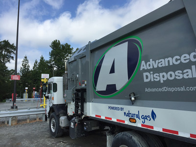 Advanced Disposal compressed natural gas truck at fueling station in Macon, Ga.