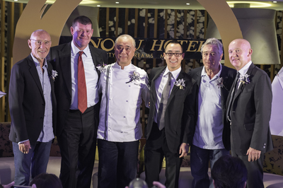 On stage at the Press Conference for the official Grand Opening of the Nobu Hotel at City of Dreams Manila, are, from left to right: Hollywood Film Producer and Nobu partner, Mr. Meir Teper, Melco Crown Entertainment Co-Chairman, Mr. James Packer, Chef Nobu Matsuhisa himself, Melco Crown Entertainment Co-Chairman and CEO Mr. Lawrence Ho, multi Academy award-winning actor and Nobu partner, Mr. Robert De Niro and Chief Executive of Nobu Hospitality Mr. Trevor Horwell.