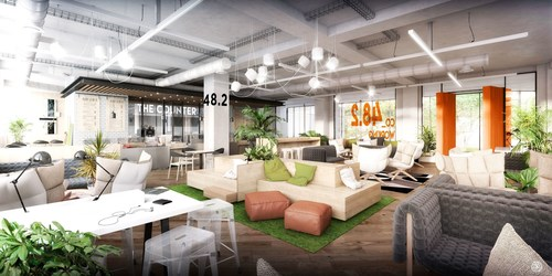 "48.2"", the future co-working lounge of emlyon business school Paris campus. Saguez & Partners. (PRNewsFoto/emlyon business school)"
