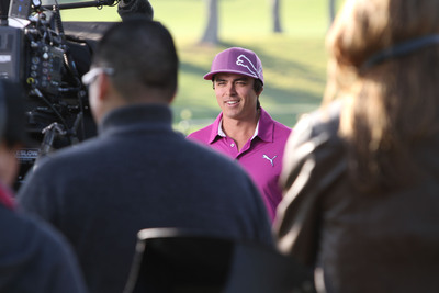 """PGA TOUR pro Rickie Fowler on-set shooting personalized videos for Crowne Plaza's """"The Big Win"""" promotion from IHG(r) Rewards Club.  (PRNewsFoto/InterContinental Hotels Group (IHG))"""
