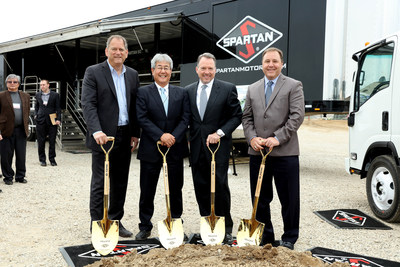 Pictured at the Spartan Motors and Isuzu North America groundbreaking ceremony, from left to right, are Shaun Skinner, EVP & GM ICTA; Shigeji Sigimoto, President, INAC; Daryl Adams, President and CEO, Spartan Motors; and Steve Guillaume, President, Spartan Specialty Vehicles