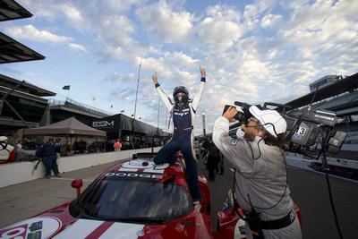 Driver Jonathan Bomarito celebrates winning first place in the GTLM class in the IMSA TUDOR United SportsCar Championship Brickyard Grand Prix on Friday, July 25, 2014. Bomarito and co-driver Kuno Wittmer piloted the No. 93 Dodge Viper SRT GTS-R race car. (PRNewsFoto/Chrysler Group LLC)
