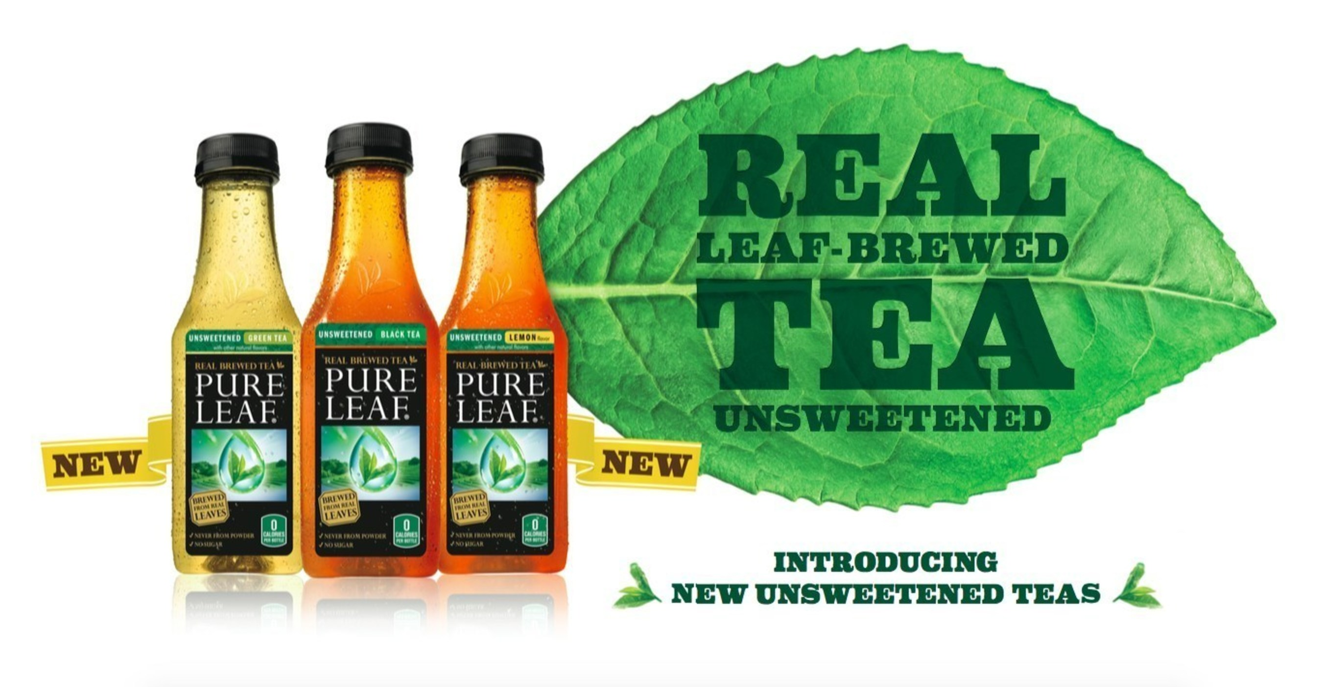 Introducing New Pure Leaf Unsweetened Teas, a premium iced tea brewed from real tea leaves.