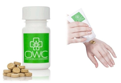 Cannabinoids-enriched innovative delivery systems by One World Cannabis. A soluble tablets for sublingual use as a smoke-free alternative, and a topical crème designated for skin diseases starting with Psoriasis. (PRNewsFoto/OWC Pharmaceutical Research Corp)
