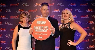 Melissa McCormick, Taylor VP of sales, Dickey's CEO Roland Dickey Jr., and Cherryh Cansler, managing editor of Fast Casual; Photo credit: Fast Casual