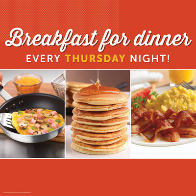 Ryan's, Old Country Buffet, and HomeTown Buffet turn dinner into the most important meal of the day with Breakfast For Dinner starting April 10. Breakfast favorites will complement popular dinner dishes on Thursday nights. Menus vary by location.  (PRNewsFoto/Ovation Brands)