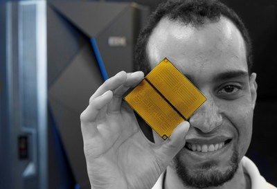 Brian David Flores, Cryptographic Hardware Verification Engineer, IBM z Systems with IBM's new z13s microprocessor chip, Tuesday, February, 16, 2016, Poughkeepsie NY. The new IBM z13s mainframe features embedded cryptography features that allow clients to process twice as many high-volume, encrypted transactions without compromising performance. The z13s bring the benefits of the mainframe to mid-sized organizations and makes it so that they no longer need to choose between security and performance.