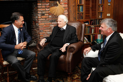 Billy Graham (center) and his son, Franklin, met with Gov. Mitt Romney during his visit to the evangelist's mountain home this afternoon, while in the region for a speaking engagement in Asheville this evening. At the end of their half-hour discussion, Mr. Graham prayed for the governor, his family and our nation during this critical time.  (PRNewsFoto/Billy Graham)