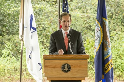 Georgia Power Chairman, President and CEO Paul Bowers notes the importance of the new 30 megawatt solar facility at Naval Submarine Base (SUBASE) Kings Bay as part of the company's commitment to delivering clean, reliable and affordable energy for customers. The start of the project was marked with a special event on Sept. 10, 2015 at the base near St. Marys, Georgia.