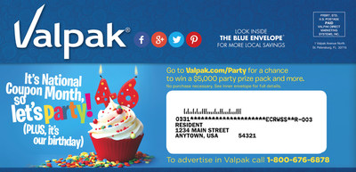 Valpak Celebrates 46th Birthday with $5k Birthday Prize Pack Sweepstakes and a Look Into Party Planning Habits (PRNewsFoto/Valpak)