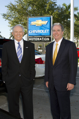 AutoNation Chairman & CEO, Mike Jackson and AutoNation COO & President,  Michael Maroone at AutoNation Chevrolet of Fort Lauderdale, the first rebranded franchise of AutoNation Coast to Coast rebranding of 210 franchises.  (PRNewsFoto/AutoNation, Inc.)