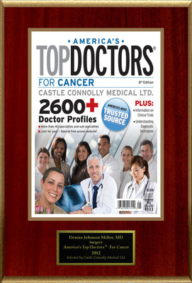 """Indianapolis's Dr. Denise Johnson Miller Is Selected For """"America's Top Doctors(R) For Cancer.""""  (PRNewsFoto/American Registry)"""