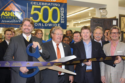 Ashley Furniture HomeStore Celebrates 500th HomeStore Opening in Longview, Texas on Feb. 21, 2014. (pictured left to right - Michael Eberhart (Store Manager); Ron Wanek (Ashley Furniture Industries, Inc.); Chad Spencer (Dufresne Spencer Group); Jeff Edgeworth (Dufresne Spencer Group).  (PRNewsFoto/Ashley Furniture HomeStore)