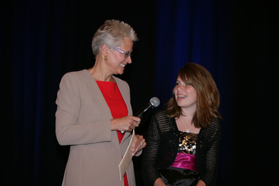 Sodexo executive, Lorna Donatone interviews eighth grader, Peyton Medick, a 2012 Stephen J. Brady STOP Hunger Scholarship recipient. Medick was recognized in June 2012 at the annual Sodexo Foundation Dinner in Washington, D.C. with a $5,000 scholarship for her education and a matching $5,000 grant for the anti-hunger charity of her choice, Covenant Community Presbyterian Church Food Pantry. Applications for 2013 scholarships are being accepted between Oct. 5 - Dec. 5, 2012.  (PRNewsFoto/Sodexo Inc.)
