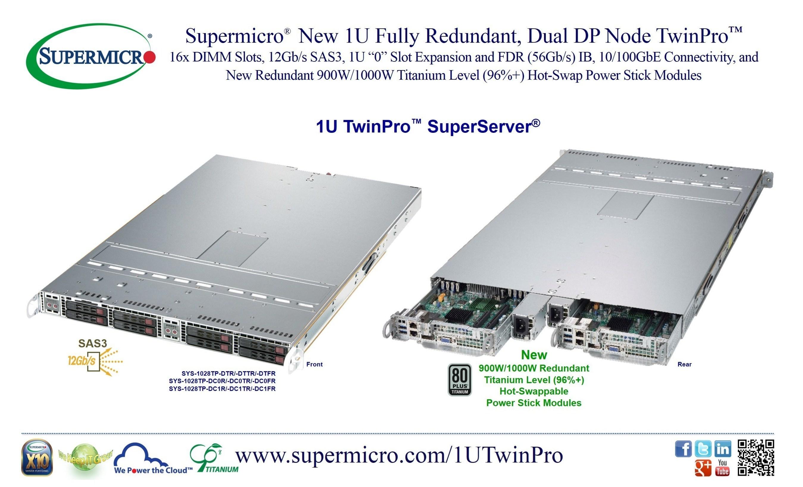 Supermicro® lanza el nuevo nodo DP dual 1U TwinPro™ completamente redundante SuperServer®
