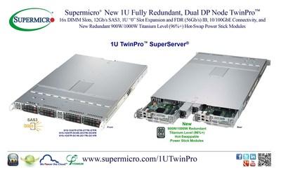 Supermicro(R) New 1U Fully Redundant, Dual DP Node TwinPro(TM)