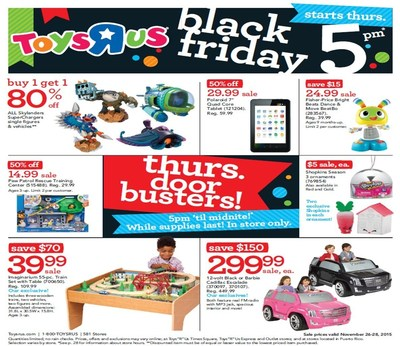 "Toys""R""Us Reveals Thanksgiving Weekend and Black Friday Deals."