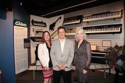 From left: Sandra Jordan, Education Consultant; Stephen Schmidt, Vice President of Casio's Electronic Musical Instruments Division; and Carolyn Grant, Executive Director of MoMM, attend the debut of the Spotlight on Casio display at NAMM's Museum of Making Music (MoMM). (Photo Credit: Tim Whitehouse)