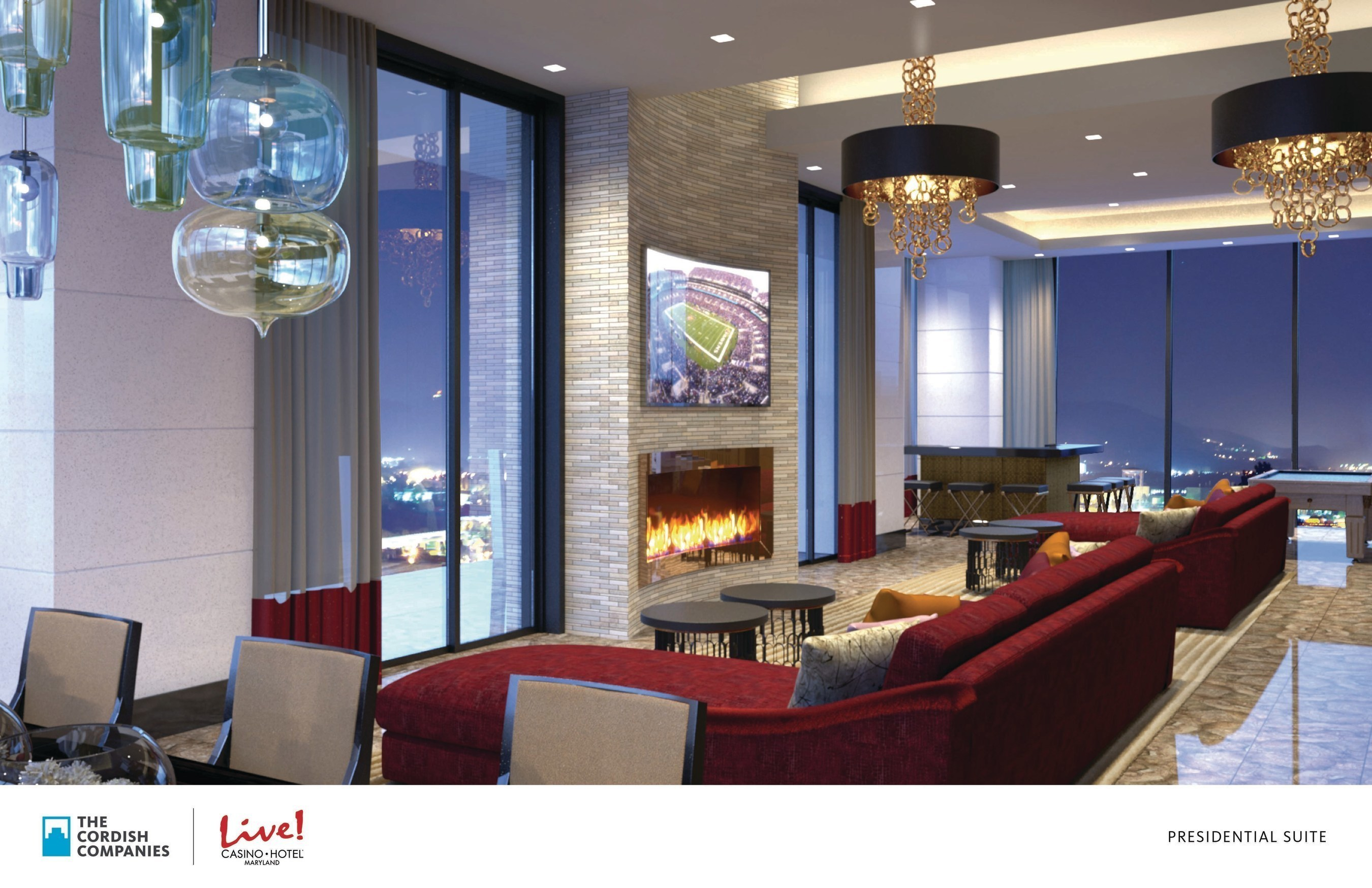 An artists' rendering depicts the Presidential Suite of the new $200 million flagship Live! Hotel. The Cordish Companies today broke ground on the development, which will be located at Maryland Live! Casino, in Hanover, MD. The 350,000- square- foot property features a 17-story hotel tower, making it the tallest building in Anne Arundel County, with 310 guest rooms, an event center, meeting spaces, new dining options, and a day spa/salon. It is the first hotel in the country to carry the Live! brand.