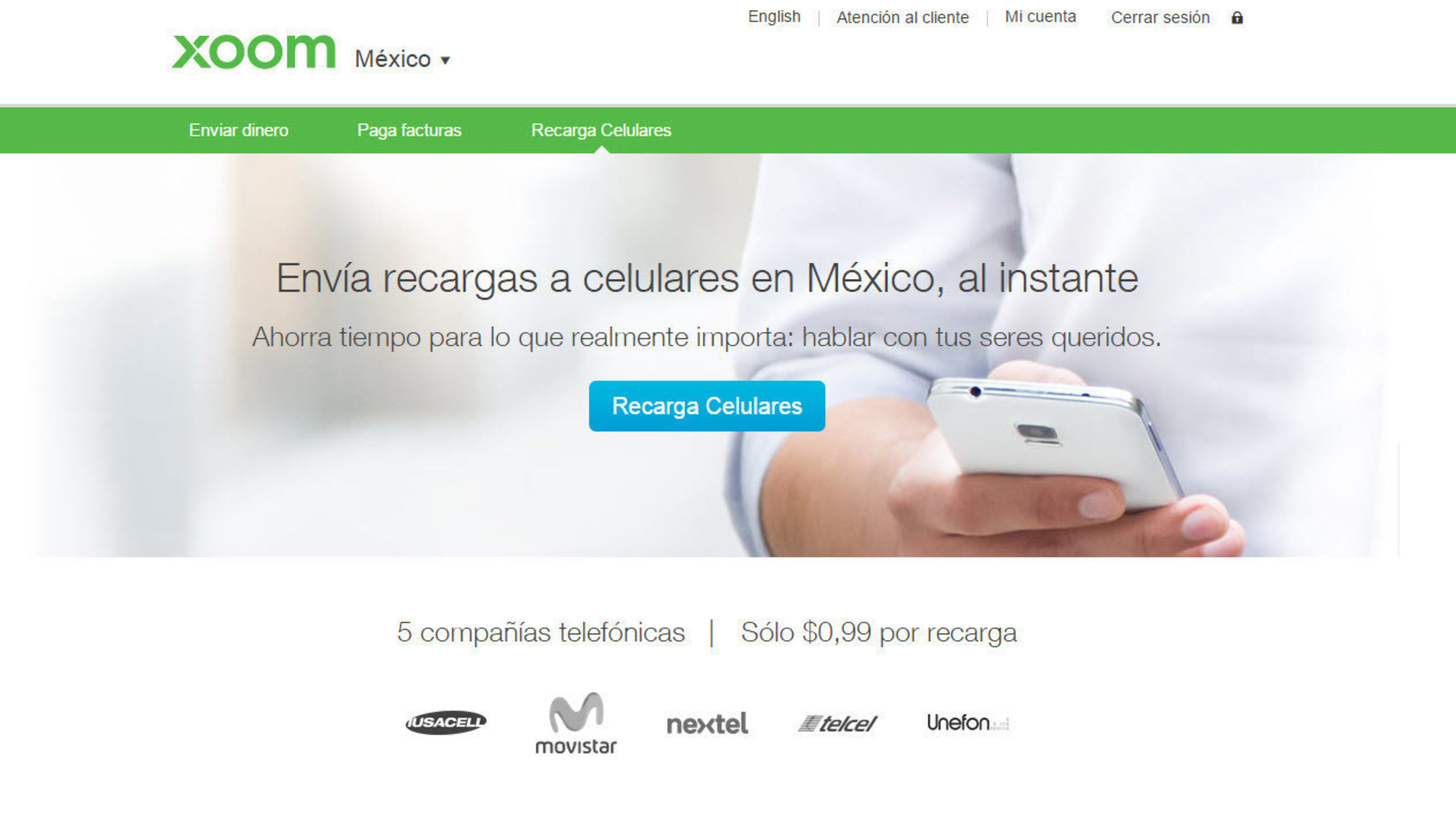 Xoom Adds Instant Mobile Reload to Latin America, Improves Convenience.  Xoom Mobile Reload allows customers to instantly recharge prepaid mobile phones online from the U.S. to Telcel, Movistar, Claro, Digicel, Nextel, Tigo Phones in Latin America and the Caribbean.