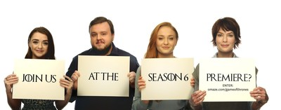 The International Rescue Committee, HBO and Omaze team up on RESCUE HAS NO BOUNDARIES #RealmtotheRescue to raise $1 million dollars in emergency aid for Syrian Refugee Crisis. Donate and win the ultimate Game of Thrones experiences including 2 tickets to the GoT Season 6 Premiere at Omaze.com/GameofThrones. L-R Game of Thrones cast members Maisie Williams, John Bradley, Sophie Turner, and Lena Headey.