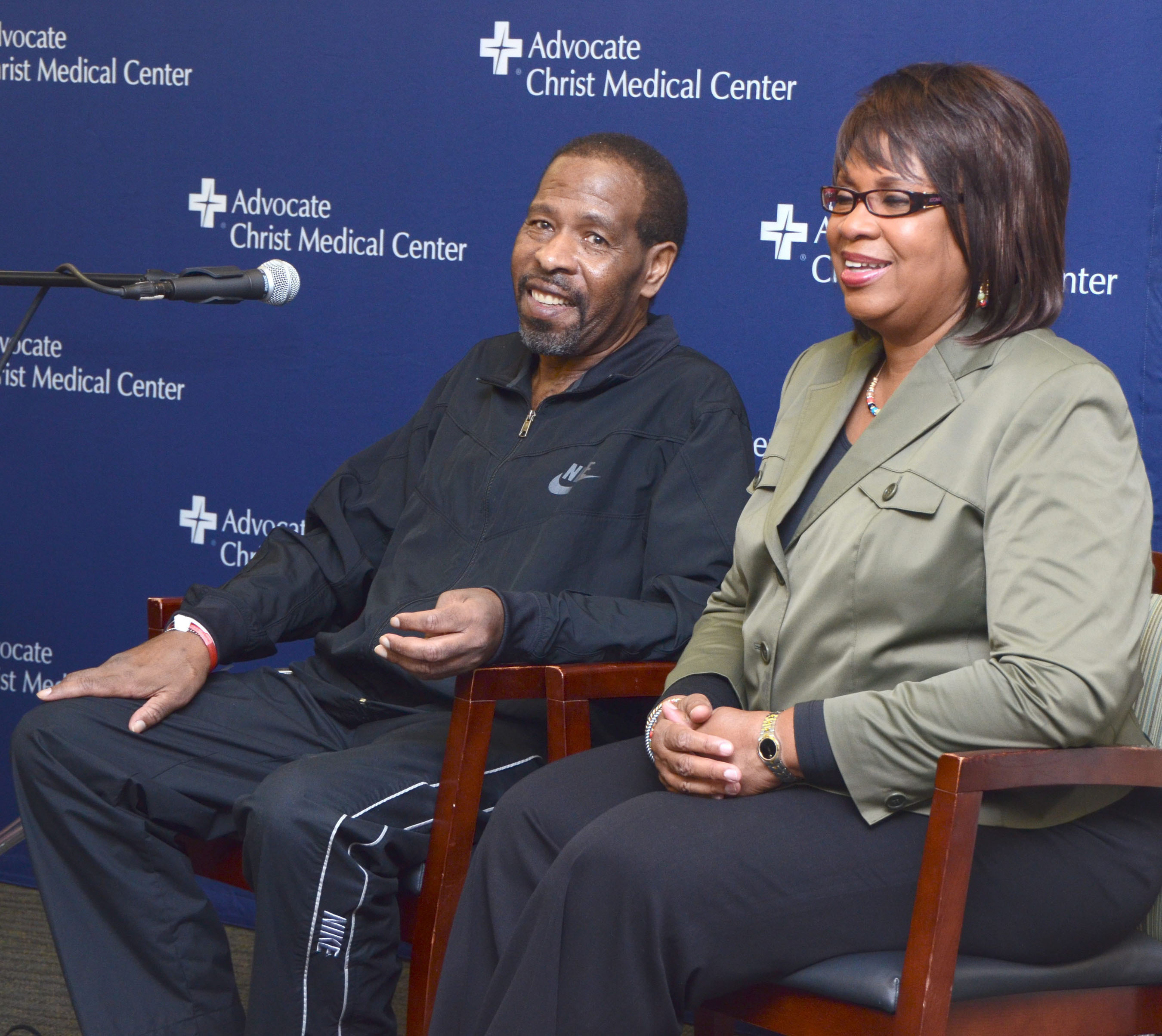 Leroy Haynes is the first SynCardia Total Artificial Heart patient in Illinois to be discharged from the hospital using the Freedom(R) portable driver. He and his wife of 42 years, Pat, spoke at a news conference held at Advocate Christ Medical Center on Sept. 13, 2012.  (PRNewsFoto/SynCardia Systems, Inc.)