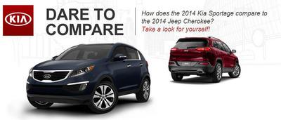 2014 Kia Sportage vs. 2014 Jeep Cherokee.  (PRNewsFoto/Palmen Kia)