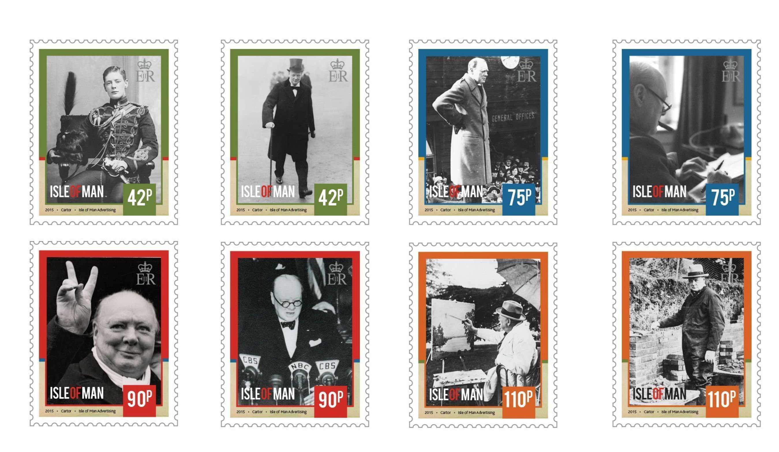 Set of eight stamps celebrating the life of Sir Winston Churchill (PRNewsFoto/Isle of Man Post Office)
