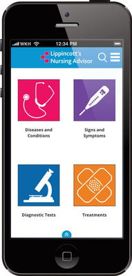 Lippincott's Nursing Advisor now available as an app.  (PRNewsFoto/Wolters Kluwer Health)