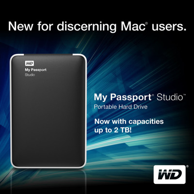 WD(R) Gives Mac(R) Users the First 2 TB Portable Hard Drive for All Their Digital Content.  (PRNewsFoto/Western Digital)