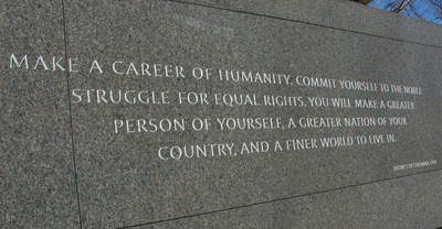 King's words are engraved in the walls lining the memorial. They encourage people from every walk of life to mobilize for a better world, like this quote that speaks public servants everywhere.