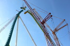 Crews hoist the last piece of the Fury 325 lift hill into place at Carowinds in Charlotte, NC at 325 feet tall. Debuting in Spring 2015, Fury 325 will be the world's tallest and fastest giga coaster.
