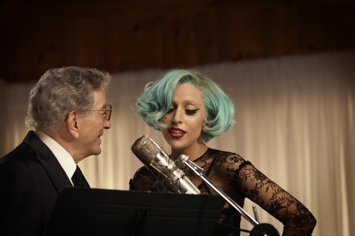 "Lady Gaga joined Tony Bennett for a duet of ""The Lady Is A Tramp"" for his DUETS II CD out on September 20.  (PRNewsFoto/RPM/Columbia Records, Josh Cheuse)"