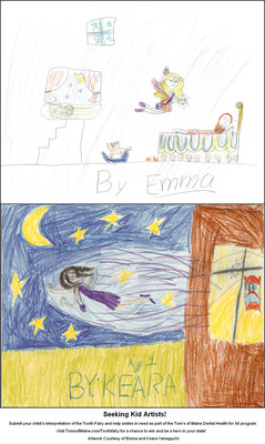 Seeking Kid Artists! Submit your child's interpretation of the Tooth Fairy and help smiles in need as part of the Tom's of Maine Dental Health for All program. Visit TomsofMaine.com/Toothfairy for a chance to win and be a hero in your state! Artwork Courtesy of Emma and Keara Yamaguchi.  (PRNewsFoto/Tom's of Maine)