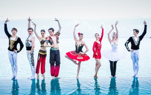 (L-R: Ernest Latypov, Boris Zhurilov, Ella Persson, Olexii Tyutyunnik, Oxana Bondareva, Renata Shakirova, Yekaterina Chebykina, Xander Paris) - Swan Lake, Carmen and the Torero, The Nutcracker Prince, Giselle and Zobeide and the Golden Slave meet the Indian Ocean at infinity's edge.  The dance ensemble take time out from their 'real' lives for a taste of the surreal in Nature's Playground - PER AQUUM Niyama - from their perch at The Crescent's infinity pool. (PRNewsFoto/Per Aquum Hotels & Resorts)