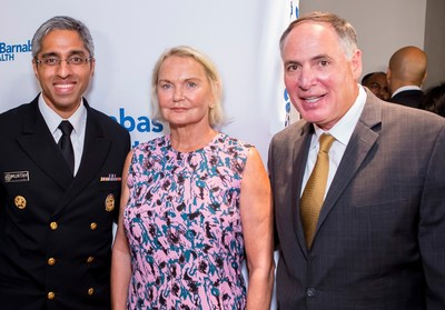 (l-r) U.S Surgeon General Vivek Murthy, Partnership for a Drug-Free New Jersey Chairwoman Elaine Pozycki and Executive Director Angelo Valente, discuss Vivek's plan to issue the first ever Surgeon General's report on Addiction and Health.