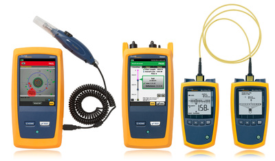 """Fluke Networks introduces trio of """"Accelerator"""" solutions to speed fiber inspection, certification and testing. The new FI-7000 FiberInspector Pro, Singlemode MultiFiber Pro, and SmartLoop OTDR speed fiber test, inspection, and certification within data center, datacom installation, and large enterprise operations--in most cases, slashing the time to complete fiber jobs by more than 50 percent. (PRNewsFoto/Fluke Networks)"""