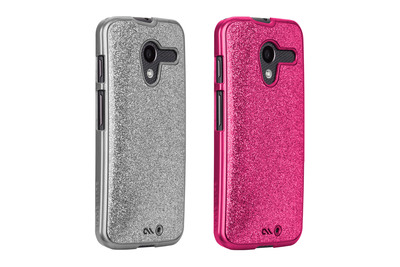 Glimmer, $35: Shine on with Glimmer. From a daytime shimmer to an all-out evening glam, this glittery Moto X case creates a fashionable blend of sparkle and shine. With its slim silhouette, the glitter coated inlay forms a sleek profile. A smooth and clear finish coats the shine, creating a polished look that keeps the glitter in place. The Glimmer for Moto X is available in Silver and Pink.  (PRNewsFoto/Case-Mate)