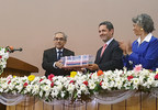 Petrobangla Chairman Mr. Istiaque Ahmad, Excelerate Energy Chief Development Officer Mr. Daniel Bustos, and United States Ambassador Ms. Marcia Bernicat at the signing of the Moheshkhali Floating LNG Terminal.