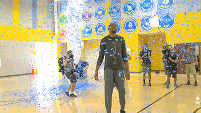 Kevin Durant makes his debut at IDEA Rundberg Public School in Austin, Texas, as part of the Kevin Durant Charity Foundation's BUILD IT AND THEY WILL BALL court renovation program and the BBVA Compass Foundation.
