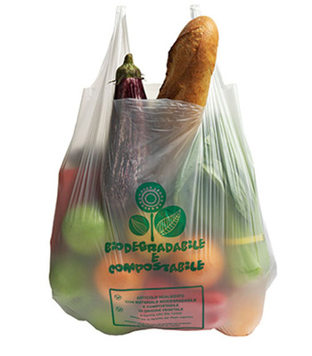 This compostable bag, made with Metabolix's Mvera B5008, is a great alternative for groceries. Once you get home, the bag can be used to collect your kitchen waste for compost collection.  (PRNewsFoto/Metabolix)