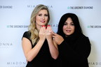 Muhammad Ali's daughter Khaliah and MiaDonna & Company CEO, Anna-Mieke Anderson wearing Largest Grown-in-the-USA Laboratory Diamond, 6.28 carats