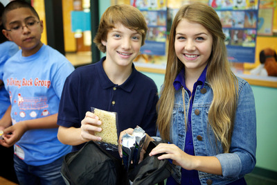 Disney Channel star Jake Short and Olivia Osteen, niece of Pastor Joel Osteen, team together for Blessings in a Backpack PSA to fight hunger.  (PRNewsFoto/Sound Tree Entertainment)