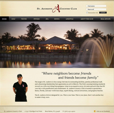 St. Andrews Country Club of Boca Raton unveils a new website with virtual spokesperson technology featuring Morgan Pressel, LPGA Superstar and Aaron Krickstein, a nine-time ATP tour titleist welcoming visitors on a rotating basis.  (PRNewsFoto/St. Andrews Country Club)